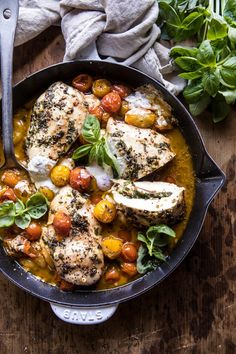 Cheesy Tomato Basil Stuffed Chicken   halfbakedharvest.com #chicken #easy #recipes