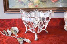 Vintage Silver Plate & Crystal Serving Set - Silver Plate Stand with Mikasa Crystal Bowl - Silver Plate Salad Serving Set - 4 Piece Set