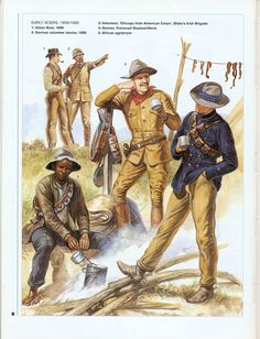 Boers, Second Boer War African agyterryer. Both sides made extensive use of African laborers and scouts, whilst maintaining the myth of 'the white man's war'. Volunteer, 'Chicago Irish-American Corps', Blake's Irish Brigade. Military Art, Military History, Military Uniforms, Osprey Publishing, Scouts, Irish American, African History, British Army, Warfare