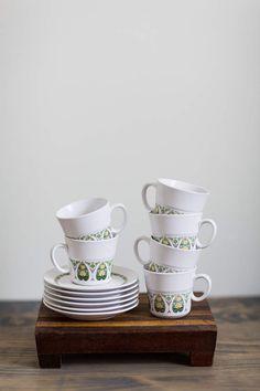 Vintage Cups & Saucers, Free Shipping, Noritake Cups, Noritake Saucers, Palos Verde, Green Mugs, Yellow Mugs, Green Saucers, Yellow Saucers