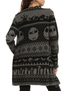 The Nightmare Before Christmas Black Grey Cardigan | Hot Topic - This is my favorite cardigan Ive ever owned!! Its so soft and warm!