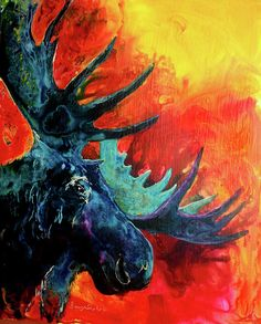Blue Moose Painting by Sherry Shipley - Blue Moose Fine Art Prints and Posters for Sale
