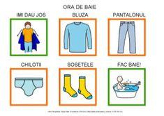 Ora de baie by Dana Horodetchi, via Slideshare Romanian Language, Oras, Special Education, Comics, Google Play, Food, Communication Boards, Pictogram, Vocabulary