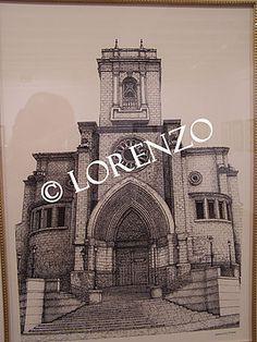 Albacete, Catedral. Dibujo a plumilla sobre papel