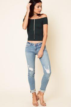 Light Blue denim ripped bottom frayed jeans 98% Cotton 2% Spandex #classic #denim #womens #ltblue #distressed #skinny