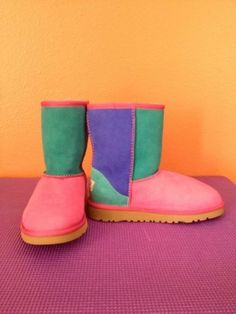 Cute Ugg Color Block Boots, Multi Color Ugg Boots, Ugg Ankle Boots #ugg