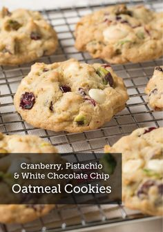 This delicious cookie recipe is packed with goodies! Bake these Cranberry, Pistachio and White Chocolate Chip Oatmeal Cookies for the holidays, they'll be a hit!