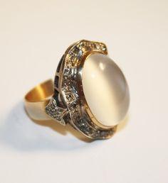 vintage moonstone jewelry | Antique Moonstone and Diamond Ring | Moonstone Jewelry