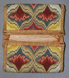 "Pocketbook, carnation pattern, American, ca. 1740-1790, 4"" L x 7"" W when folded closed"