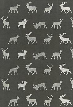 Caribou Embroidery in Charcoal from @Kylee Foote Foote Eygenraam-Schumacher — Fabric Wallcovering Trimming Furnishing. Fall 2012 Luxe Lodge Collection. #fabric #cotton #gray