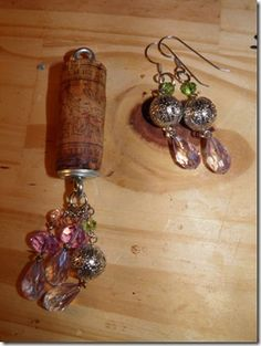 wine cork necklace and earrings Wine Cork Jewelry, Wine Cork Art, Wine Cork Crafts, Wine Corks, Cork Necklace, Necklaces, Jewelry Crafts, Handmade Jewelry, Wine Bottle Candles