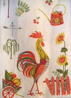 Vintage 1950s Autumn Rooster Linen Tea Towel by FourMartiniLunch, $15.00