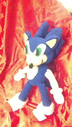 I crocheted this Sonic the Hedgehog for my son, who is in his 30s. He was a big fan of Sonic when he was a kid. I gave it to him for Christmas last year, 2013.