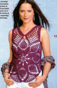 PDF PATTERN.Crochet Pink Top Crochet Blouse by SassyloveCrochet