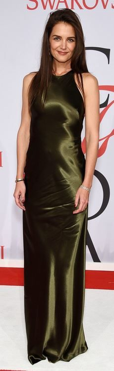 Who made  Katie Holmes' green gown?