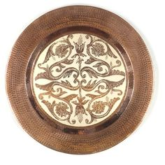 copper decorative accessories | Hammered Copper Plate | Three Martlets