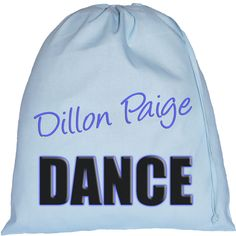 Personalised Dance Text Large Blue Drawstring Bag
