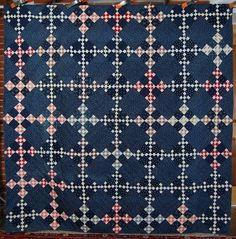 1890's Vintage Double Nine Patch Postage Stamp Chain Antique Quilt Nice Indigo | eBay