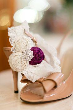 purple rosette lace garter