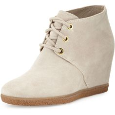 Cole Haan Leslie Suede Wedge Bootie ($125) ❤ liked on Polyvore featuring shoes, boots, ankle booties, twine, lace up boots, wedge boots, wedge bootie, wedge booties and suede lace up booties