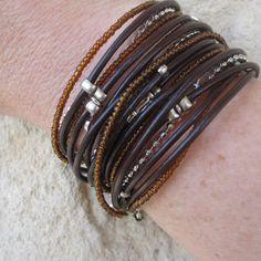 beaded leather wrap bracelet on Etsy