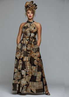 african dress styles Style Be the Queen of elegance in our Ronke African print maxi dress in our Black Brown Geometric print. It is perfect for family picture day or a spe African Dresses Plus Size, African Maxi Dresses, Latest African Fashion Dresses, African Dresses For Women, Halter Maxi Dresses, African Attire, African Dress Designs, Modern African Dresses, Ankara Fashion