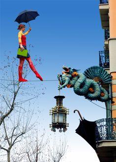 Looks photoshopped to me, but still fun!  Las Ramblas de Barcelona, Catalonia, España.