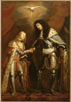 Allegory of the Treaty of Nimegue, 10 August, 1678: a meeting of Louis XIV and Charles II of Spain, sealing their alliance under the blessing of the Holy Spirit, circa 1678, Flemish school (Chateau de Versailles)