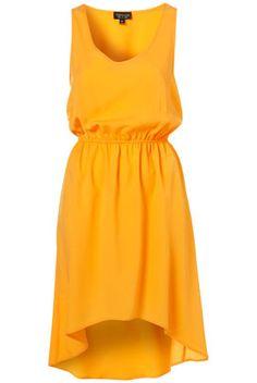 {gathered waist dip hem dress in orange - topshop}