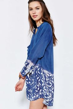 Blue Life Long-Sleeve Printed Shirt Dress - Urban Outfitters