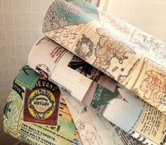 Vintage Ticket Map Postcard Stamp Old Photo Tag Label TradeMark Newspaper Fabric