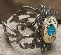 Ammo Ring +P Blue Zircon Crystal with Antique Silver Filigree$15.00 - Rustic Passion Jewelry & Crafts