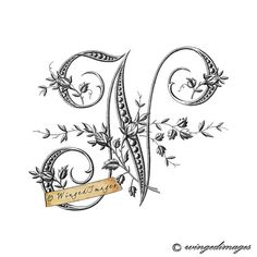 Antique French Monogram Letter N Instant Download by WingedImages