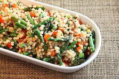 Israeli Couscous with asparagus and red peppers (I skipped the snap peas and added a yellow pepper as well)- I didn't feel the dressing was necessary- but the hubs liked it.