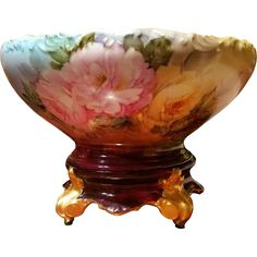 Limoges Hand Painted Rose Punch Bowl on Plinth , Ester Miler Artist Signed E. Limoges China, China Tea Sets, China Painting, Ruby Lane, Keurig, Punch Bowls, Liquor, Shabby Chic, Porcelain