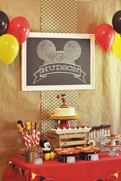 Mickey Dessert Table - Hudson's Vintage Mickey Mouse Third Birthday Party by One Swell Studio