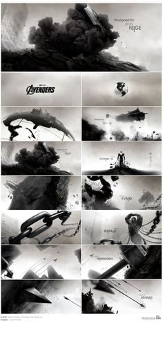 Avengers - carlosstevens.com avengers title sequence titles black white illustration