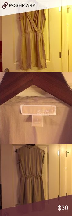 Michael Kors tan dress size small Clinches at waist. V neck with short shelves. Great dress for summer MICHAEL Michael Kors Dresses Asymmetrical