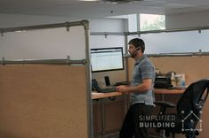 Kee Klamp Cubicles and Pipe Frame Standing Desks #standingdesk #pipe #pipefurniture