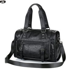 13c0465f29 vintage leather men travel bag high quality duffel bag black tote man  handbags business men messenger