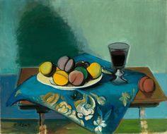 Rudolf Levy – Stillleben mit Pfirsichen, 1942; Öl auf Leinwand, 60x73 cm