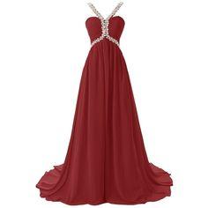 KissBridal Women's Long Chiffon Prom Dress Beading Evening Dress... ($40) ❤ liked on Polyvore