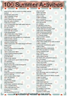 100 summer activities for kids. Simple non screen activities for kids