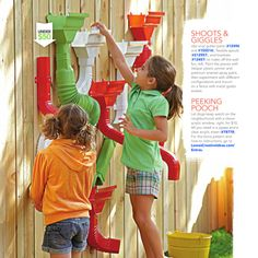 Use gutter parts to create a fun summer activity wall