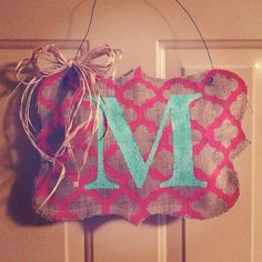 Turquoise Monogram with Hot Pink Patterned Burlap Door Hanger!! soo cute!