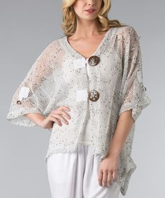 Take a look at the White Mesh Sidetail Cardigan - Women on #zulily today!