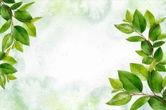 Download Watercolor Nature Background With Leaves for free