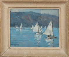 Lot 221  20th Century School: Sailboats  Oil on board, 1951, indistinctly signed and dated lower left. 7 3/8 x 9 1/4 in., 10 5/8 x 12 3/4 x 1 1/2 in. (frame).  Estimate $ 100-200