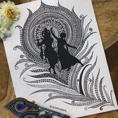 Radha Krishna on peacock feather art print wall decor Etsy # Doodle Art Drawing, Zentangle Drawings, Cool Art Drawings, Mandala Drawing, Art Drawings Sketches, Mandala Sketch, Doodle Doodle, Doodle Borders, Mandala Art Lesson