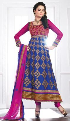 G3 Fashions Magenta Blue Georgette Party Wear Designer Salwar Suit  Product Code : G3-LSA105034 Price : INR RS 5086